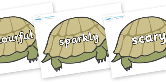 Wow Words on Tortoises - Wow words, adjectives, VCOP, describing, Wow, display, poster, wow display, tasty, scary, ugly, beautiful, colourful sharp, bouncy