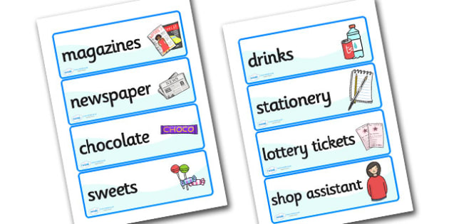 Newsagents Role Play Labels - newsagents, role play, labels, role play labels, newsagents role play, labels for newsagents, role play labels
