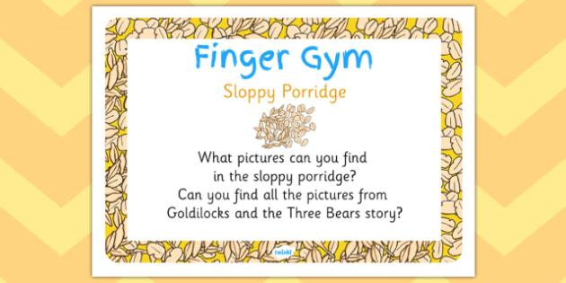 Sloppy Porridge Finger Gym Prompt Card - sloppy porridge, finger, gym