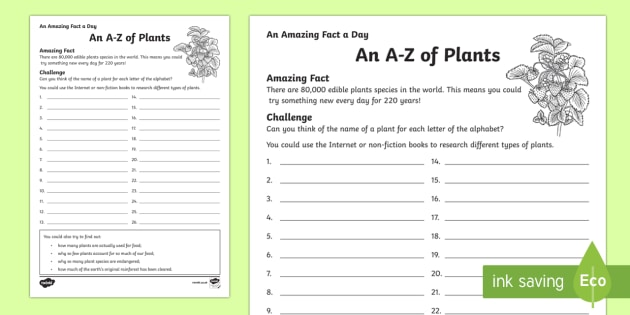 An A to Z of Plants Activity Sheet - Amazing Fact Of The Day, activity sheets, powerpoint, starter, morning activity, December, plants, s