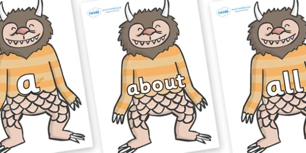 100 High Frequency Words on Wild Thing (1) to Support Teaching on Where the Wild Things Are - High frequency words, hfw, DfES Letters and Sounds, Letters and Sounds, display words