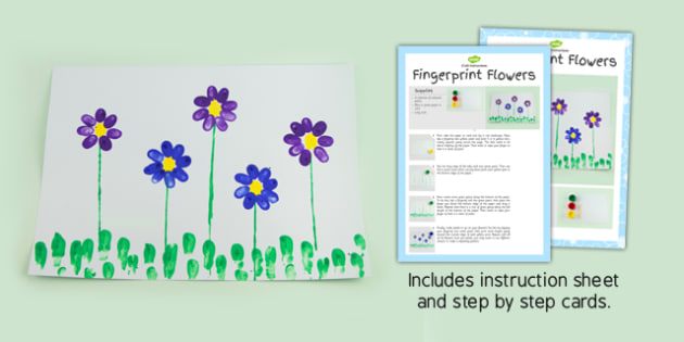 Fingerprint Flowers Craft Instructions - flower, prints, crafts, fingerprint, instructions