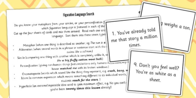 Y5 6 Figurative Language Differentiated Sorting Cards Activity
