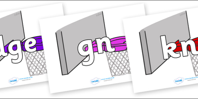 Silent Letters on Basketball Hoops - Silent Letters, silent letter, letter blend, consonant, consonants, digraph, trigraph, A-Z letters, literacy, alphabet, letters, alternative sounds