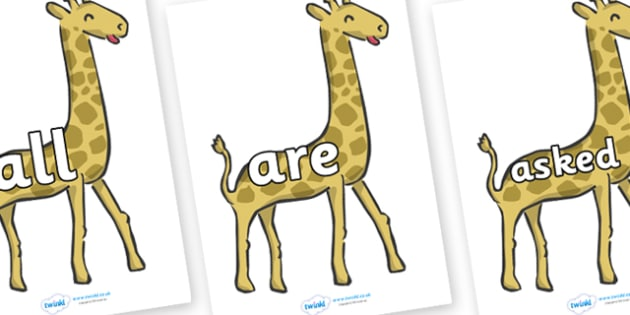 Tricky Words on Giraffes - Tricky words, DfES Letters and Sounds, Letters and sounds, display, words