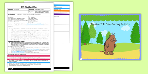 Size Ordering Activity to Support Teaching on The Gruffalo EYFS Adult Input Plan and Resource Pack - EYFS planning, Early Years activities, adult led, shape space measure height
