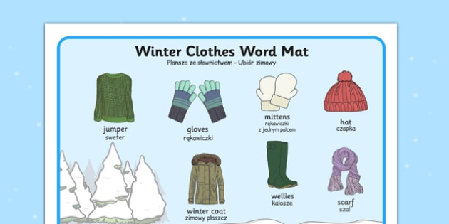 Winter Clothes Word Mat Polish Translation - polish, winter, clothes, word mat, word, mat