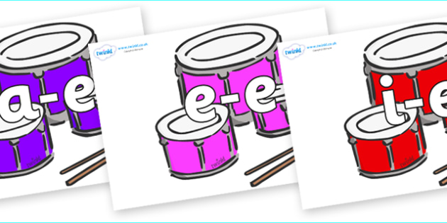 Modifying E Letters on Drums - Modifying E, letters, modify, Phase 5, Phase five, alternative spellings for phonemes, DfES letters and Sounds