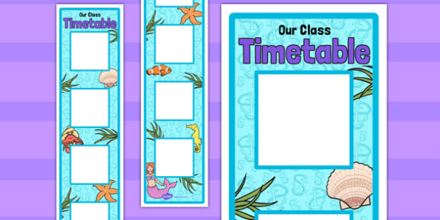 Under the Sea Themed Vertical Visual Timetable Display - visual, timetable
