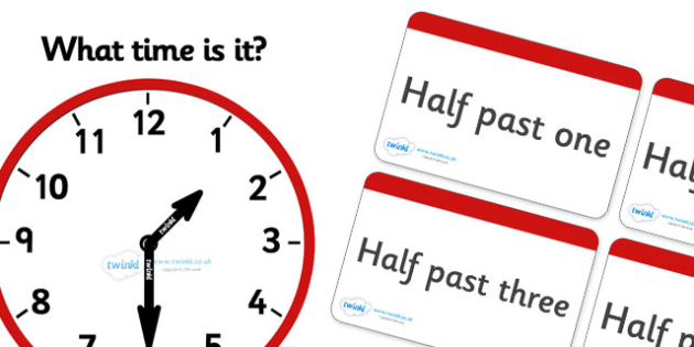 Clock Matching Game - Half Past - education, home school, child development, children activities, free, kids, math games, worksheets, number work