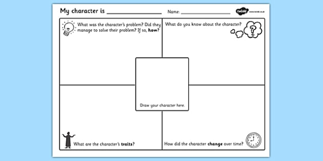 Character Description Writing Template - character description worksheet, character description writing frame, characters, describe a character