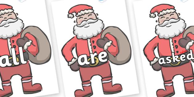 Tricky Words on Santas - Tricky words, DfES Letters and Sounds, Letters and sounds, display, words