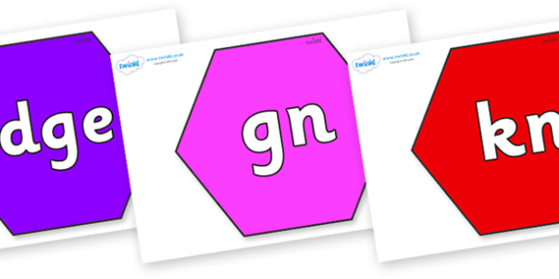 Silent Letters on Hexagons - Silent Letters, silent letter, letter blend, consonant, consonants, digraph, trigraph, A-Z letters, literacy, alphabet, letters, alternative sounds