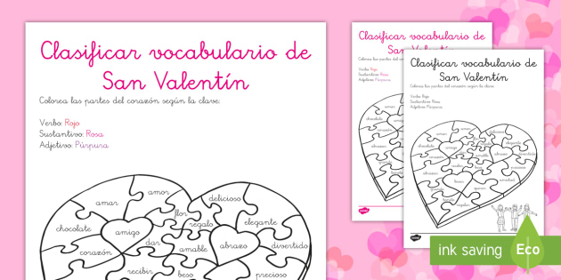 Ficha de clasificar vocabulario: San Valentín - verbo, sustantivo, adjetivo, corazón, puzzle, colorear, vern, noun, adjetivo, heart, jigsaw, puzzle