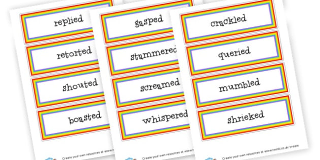 Alternative Words for Said Word Cards - Words & Vocab Primary Resources, literacy, keywords, cvc, phonemes
