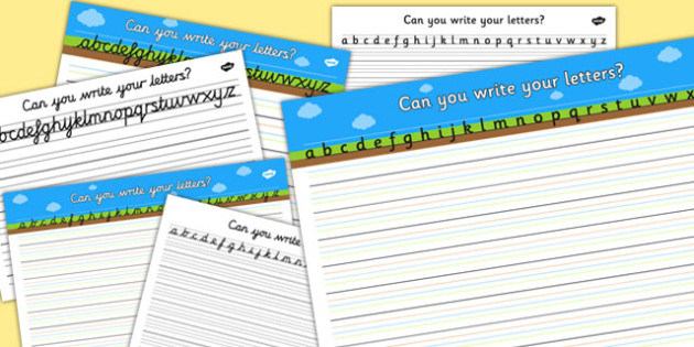 Can you Write Your Letters Worksheet (Ground, Sky, Grass) - Line guide, Handwriting, Writing aid, Learning to write, sky ground grass, line guides
