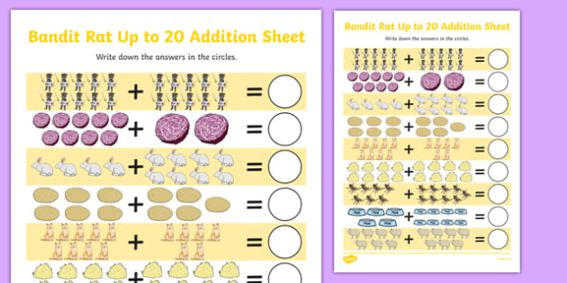 Bandit Rat Themed Up to 20 Addition Sheet - highway rat, bandit rat, julia donaldson, addition sheet