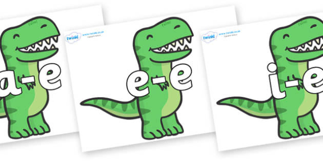 Modifying E Letters on T Rex Dinosaurs - Modifying E, letters, modify, Phase 5, Phase five, alternative spellings for phonemes, DfES letters and Sounds