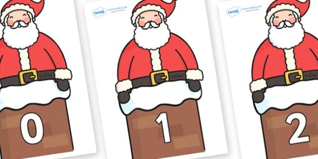 Numbers 0-50 on Santa in Chimney - 0-50, foundation stage numeracy, Number recognition, Number flashcards, counting, number frieze, Display numbers, number posters