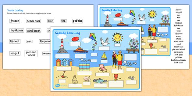 Seaside Scene Labelling Worksheet - seaside, beach, seaside labelling worksheets, seaside scene worksheets, seaside key words worksheet, seaside words