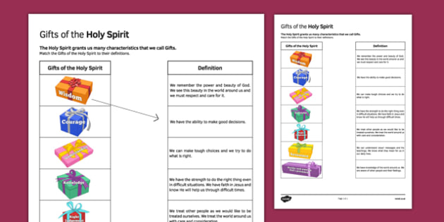 Gifts of the Holy Spirit Matching Activity Sheet - Gifts, Holy Spirit, matching, activity sheet, Confirmation, worksheet