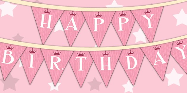 Princess Themed Birthday Party Happy Birthday Bunting - parties