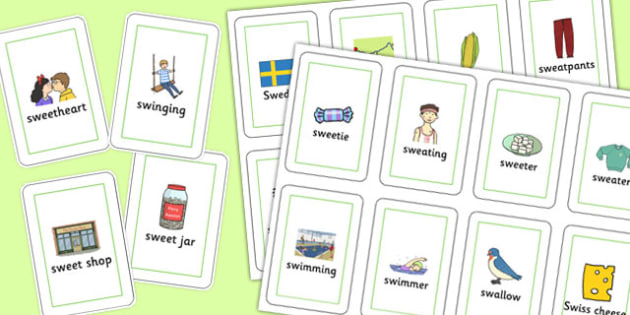 Two Syllable 'SW' Playing Cards - sw sound, syllable, playing cards