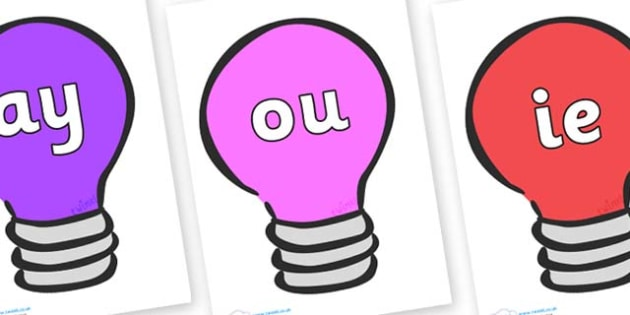 Phase 5 Phonemes on Lightbulbs (Multicolour) - Phonemes, phoneme, Phase 5, Phase five, Foundation, Literacy, Letters and Sounds, DfES, display