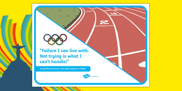 Olympic Themed Inspirational Quote Sonya Richards Ross - usa, america, olympics, rio olympics, 2016 olympics, rio 2016, inspirational quote, display poster