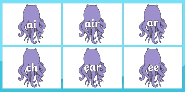 Phase 3 Phonemes on Octopus to Support Teaching on The Rainbow Fish - Phonemes, phoneme, Phase 3, Phase three, Foundation, Literacy, Letters and Sounds, DfES, display