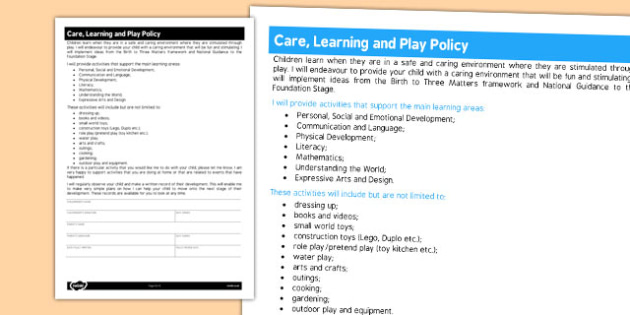 Care Learning and Play Policy - policy, child minder, care, play