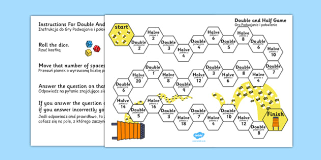 Doubling and Halving Board Game Polish Translation - polish, double, half, numeracy, game, maths, number