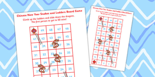 Chinese New Year Themed Snakes and Ladders Board Game 1-50 - game