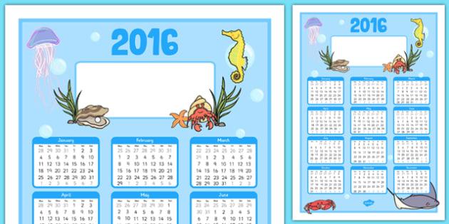Under the Sea Themed Editable 2016 Calendar - under the sea, editable, 2016, calendar