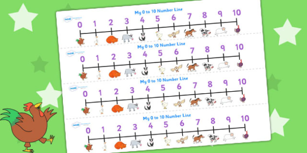 Number Lines 0-10 to Support Teaching on Farmyard Hullabaloo - farm, maths aid, count