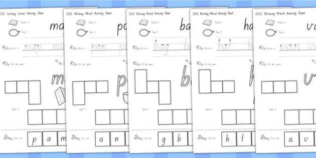 CVC Writing Word Activity Sheets A - CVC words, activities, write, worksheet