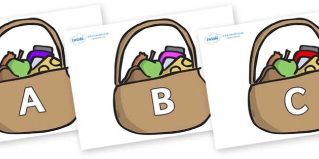 A-Z Alphabet on Baskets - A-Z, A4, display, Alphabet frieze, Display letters, Letter posters, A-Z letters, Alphabet flashcards