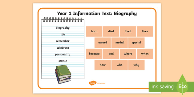 Year 1 Biography Word Mat - Example Texts Y1, information texts, biography, word mat