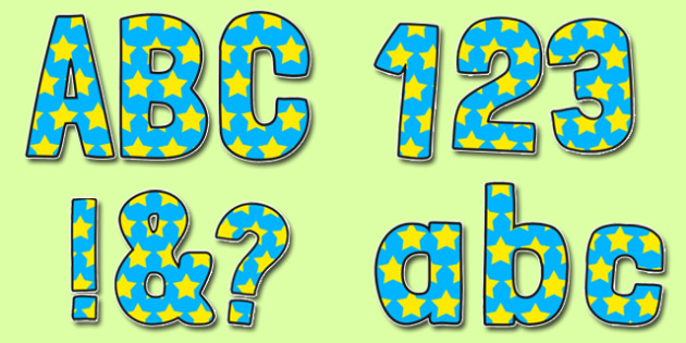 Blue With Yellow Stars Funky Display Lettering - display lettering, display, lettering, funky