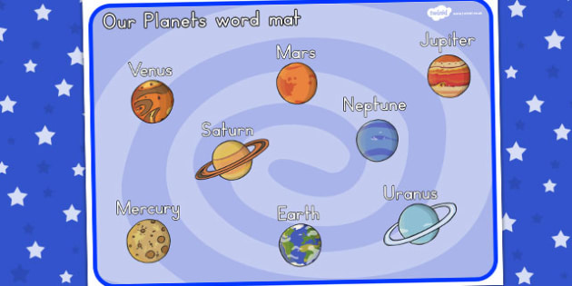 Our Planets Word Mat - australia, font, planets, space, mat