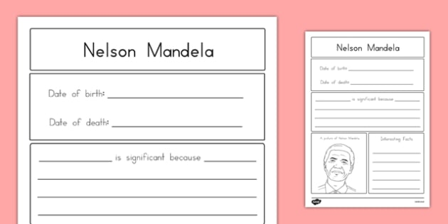 Nelson Mandela Significant Individual Writing Frame - usa, writing, nelson mandela, significant individual