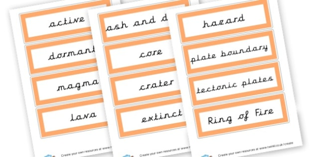 Volcano Key Words - Mountains & Volcanoes Literacy Primary Resources, rock, valley