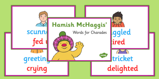 Hamish McHaggis Scottish Words for Charades - hamish mchaggis, scottish words, charades, activity