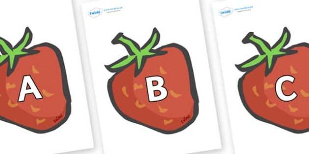 A-Z Alphabet on Strawberries - A-Z, A4, display, Alphabet frieze, Display letters, Letter posters, A-Z letters, Alphabet flashcards