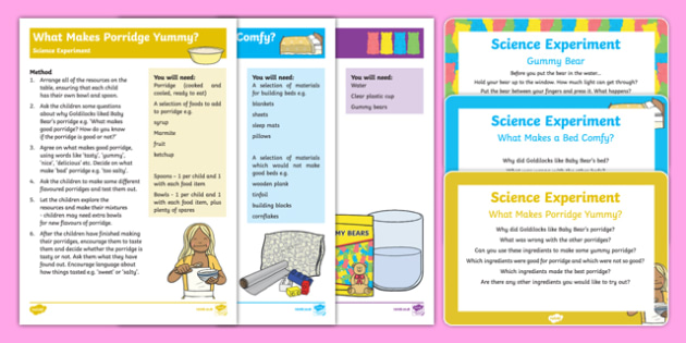 EYFS Goldilocks and the Three Bears Science Experiment Resource Pack