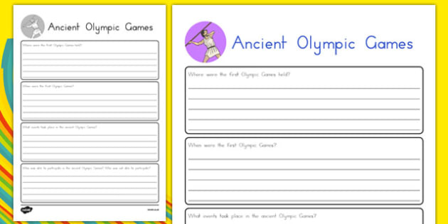 Ancient Olympic Games Research Sheet - usa, america, ancient olympic games, rio 2016, research sheet