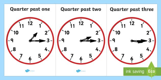 Analogue Clocks - Quarter Past - Time resource, Time vocabulary, clock face, O'clock, half past, quarter past, quarter to, shapes spaces measures