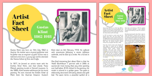Gustav Klimt Artist Fact Sheet - gustav klimt, artist, fact sheet