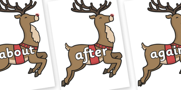 KS1 Keywords on Rudolph - KS1, CLL, Communication language and literacy, Display, Key words, high frequency words, foundation stage literacy, DfES Letters and Sounds, Letters and Sounds, spelling