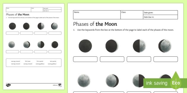 Phases of the Moon Homework Activity Sheet - Homework, phases of the moon, moon, phase, gibbous, crescent, waxing, waning, full moon, quarter moo